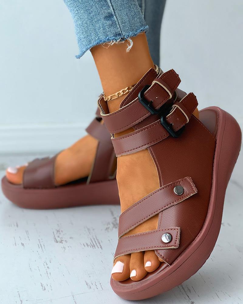 Double Strap Ankle Buckled Flat Sandals