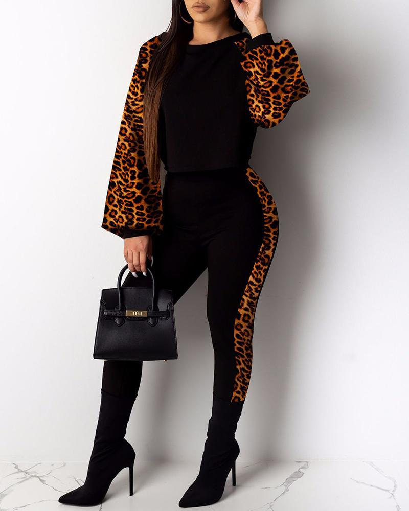 Lantern Sleeve Cheetah / Camouflage Print Colorblock Top & Pants Set, Brown