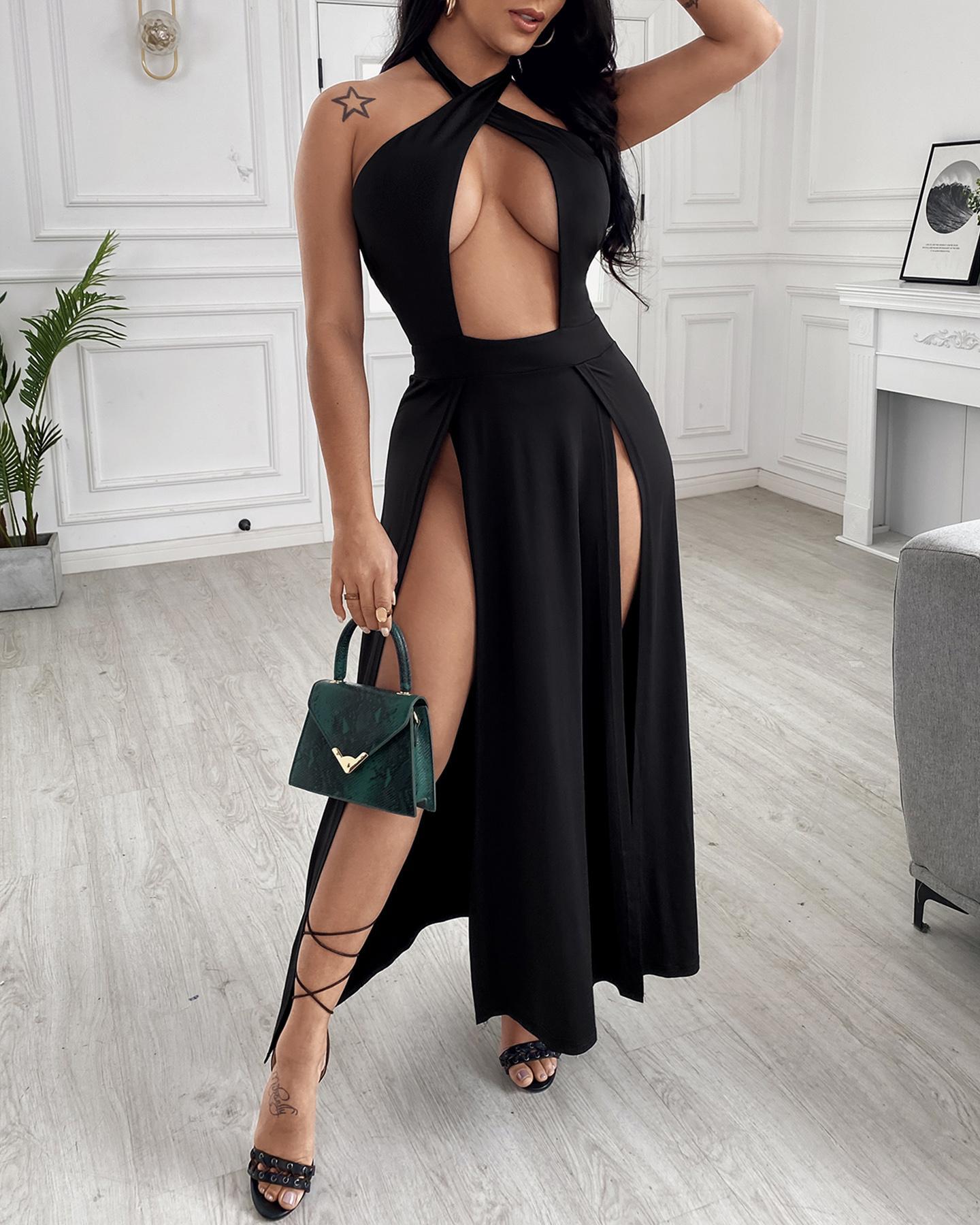 Plain Halter Backless Crisscross Cutout Sleeveless Slit Dress