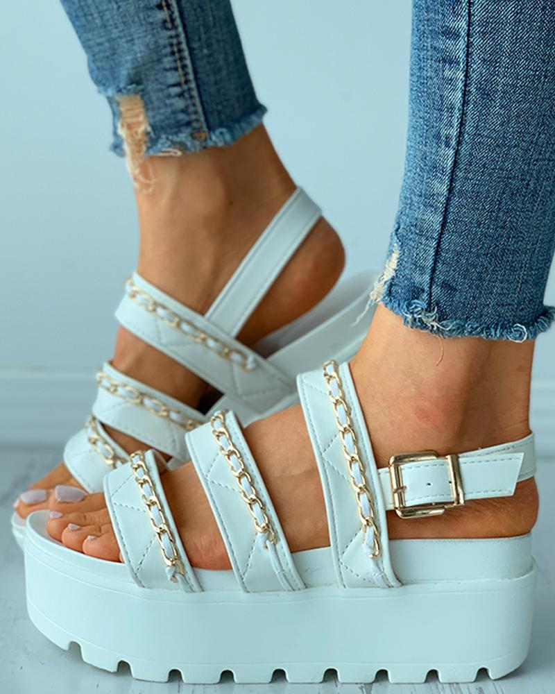 Chain Strap Buckled Slingback Platform Flat Sandals thumbnail
