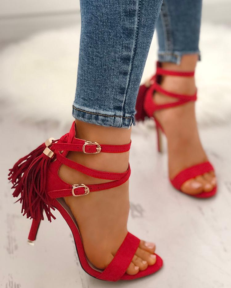 Joyshoetique coupon: Peep Toe Crisscross Bandage Tassel Stiletto Sandals