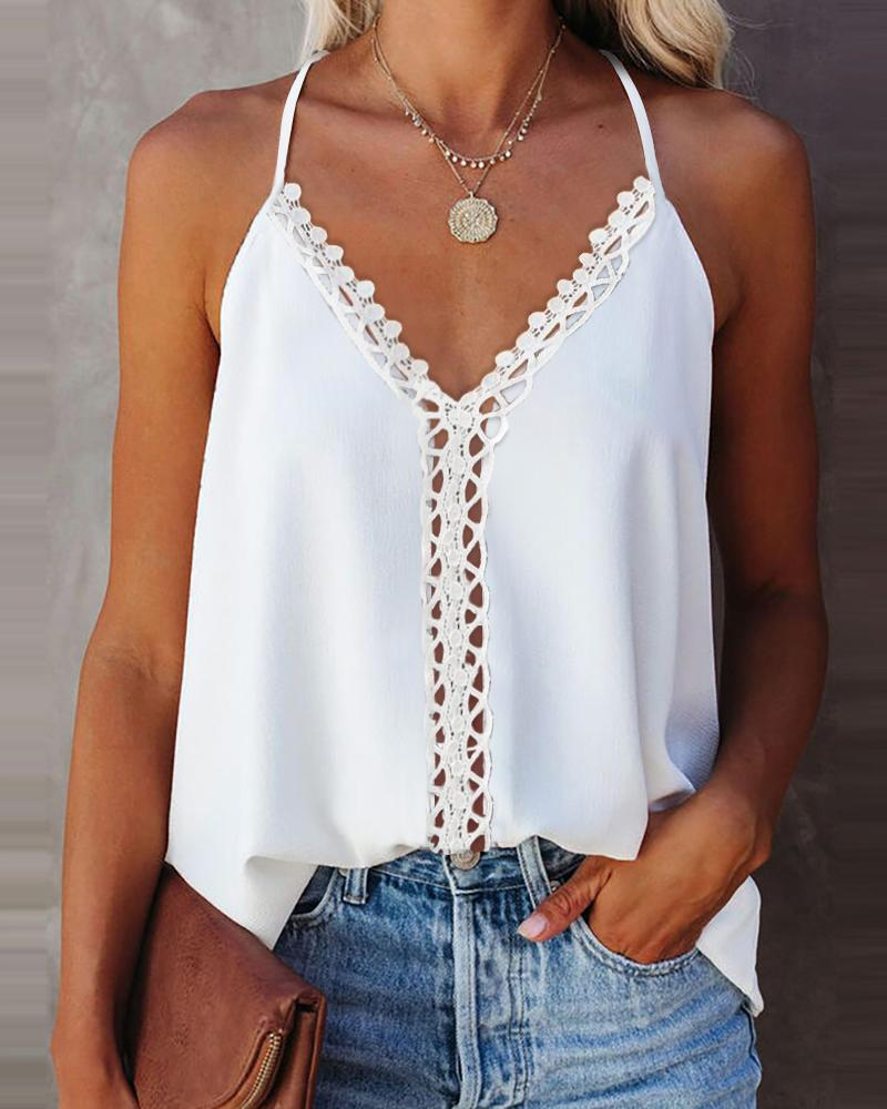 Ivrose coupon: Hollow Out Lace Trim Halter Sleeveless Top