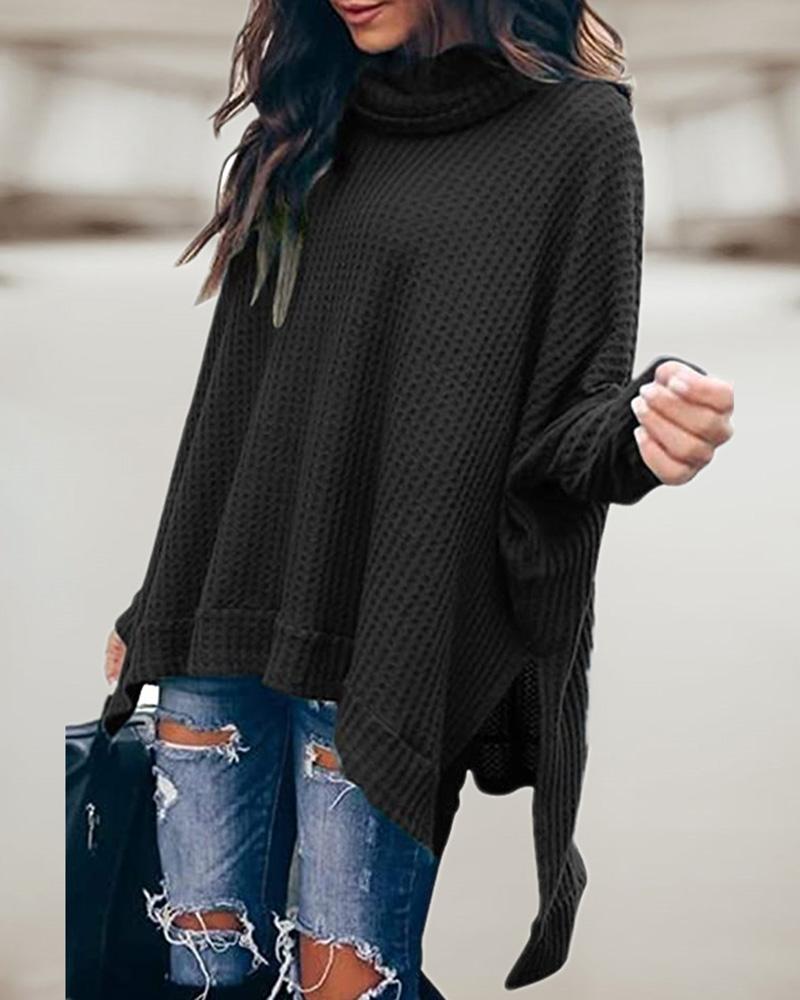 High Neck Asymmetrical Slit Waffle Knit Sweater