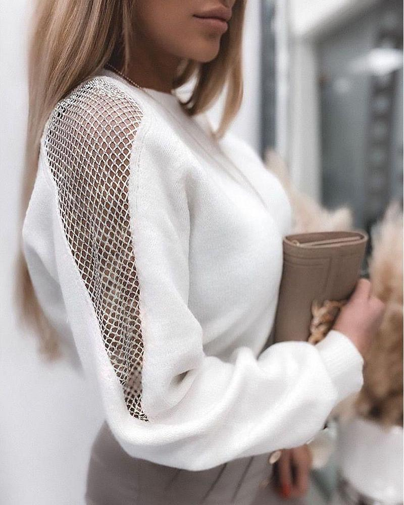 Hollow Out Long Sleeve Casual Sweatshirt