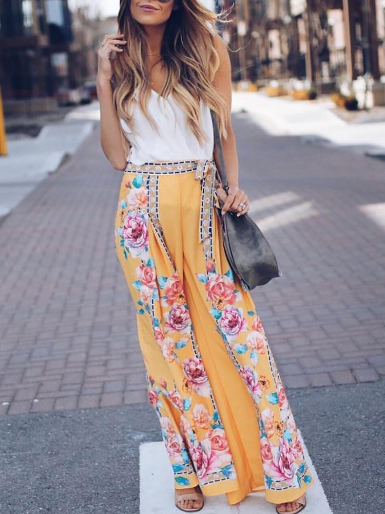 Joyshoetique coupon: Floral Print Wide Leg Belted Boho Pants