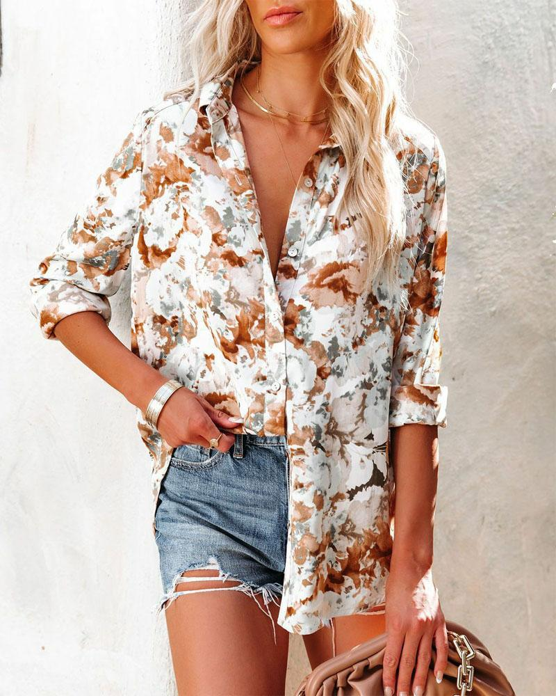 Allover Floral Print Long Sleeve Button Up Top, ivrose, white  - buy with discount