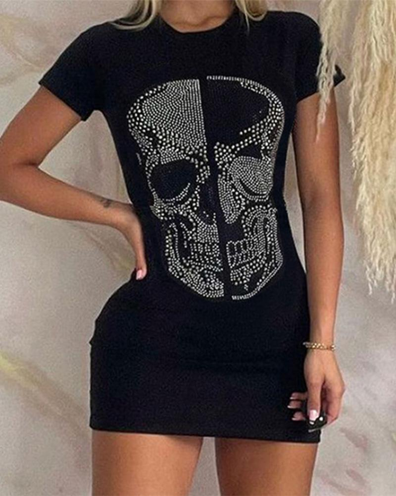 Skull Pattern Studded Short Sleeve T-Shirt Dress