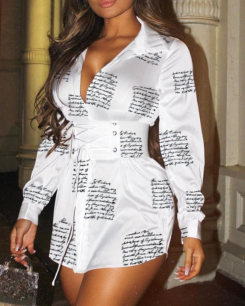 Letter Print Eyelet Lace-Up Shirt Dress