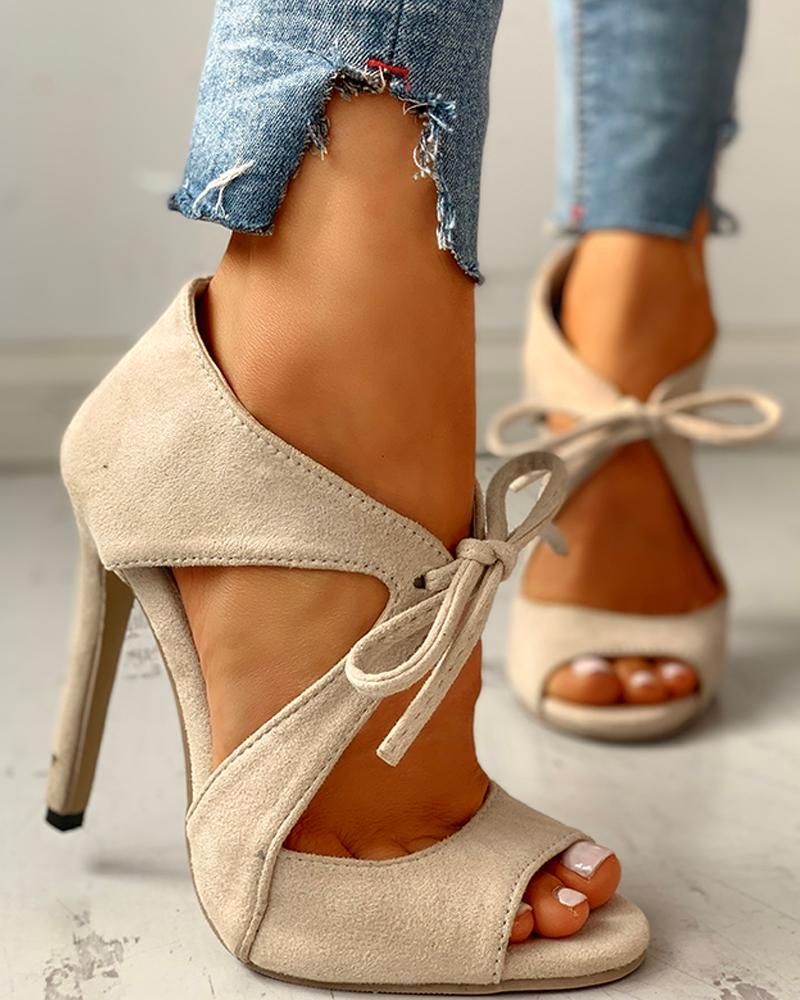 Suede Peep Toe Cutout Thin Heels thumbnail