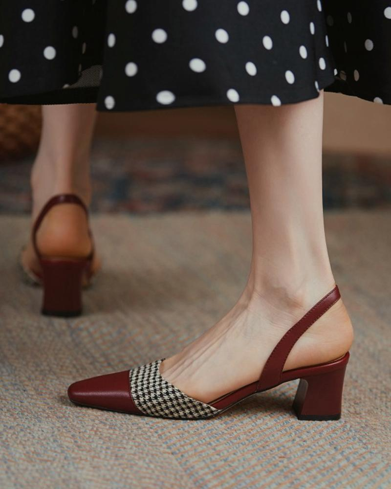 Square-toe Color Block Splicing Houndstooth Print Hollow-out High Heels