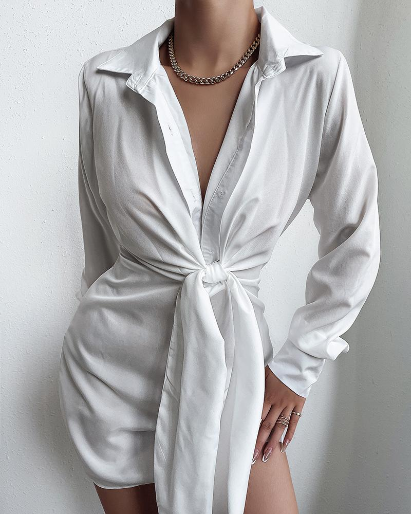 Solid Plunging Knot Front Shirt Dress thumbnail