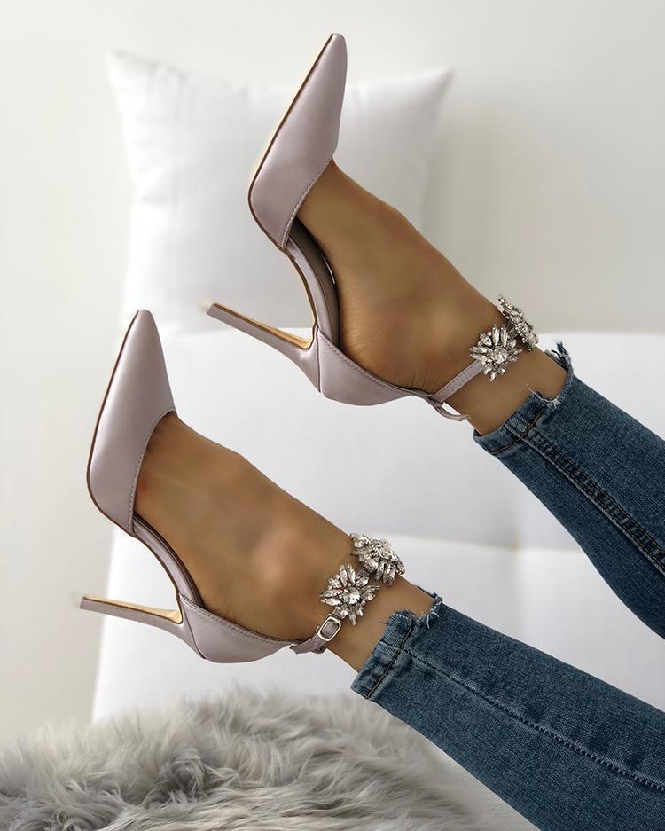 Joyshoetique coupon: Womens Satin Pointed Toe Shiny Ankle Strap Stiletto Heels