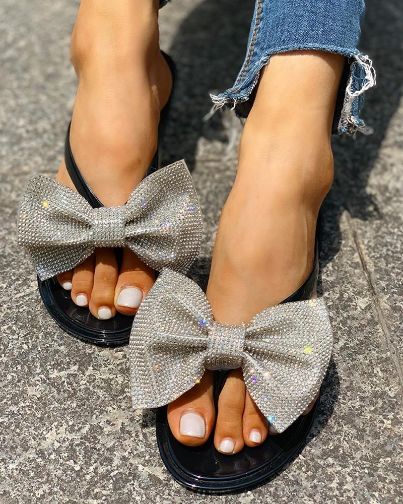Rhinestone Bowknot Design Open Toe Sandals