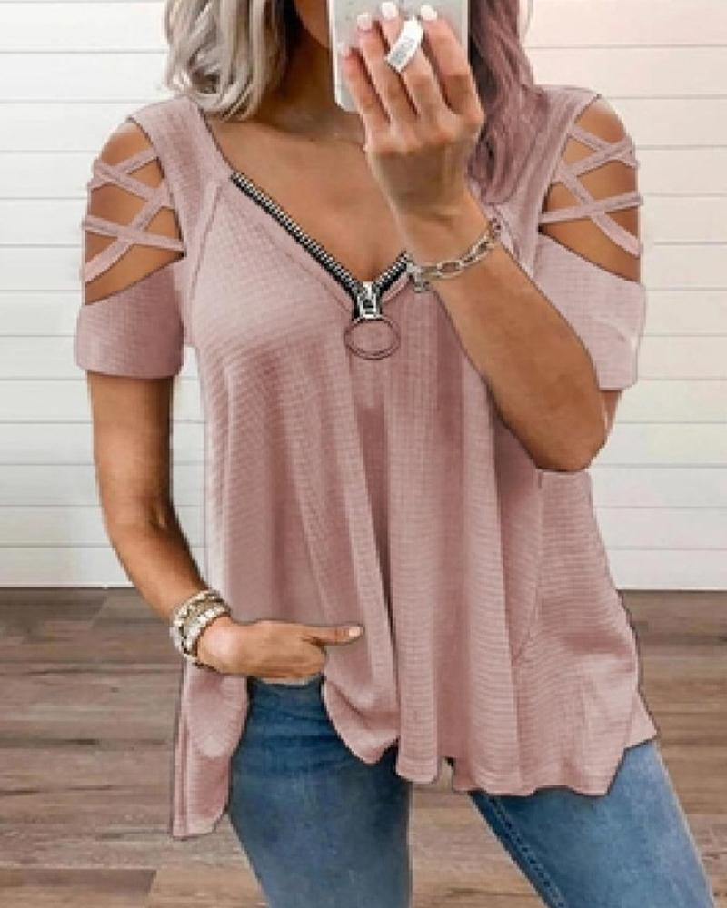 Solid Short Sleeve Zip-up Blouse T-shirts
