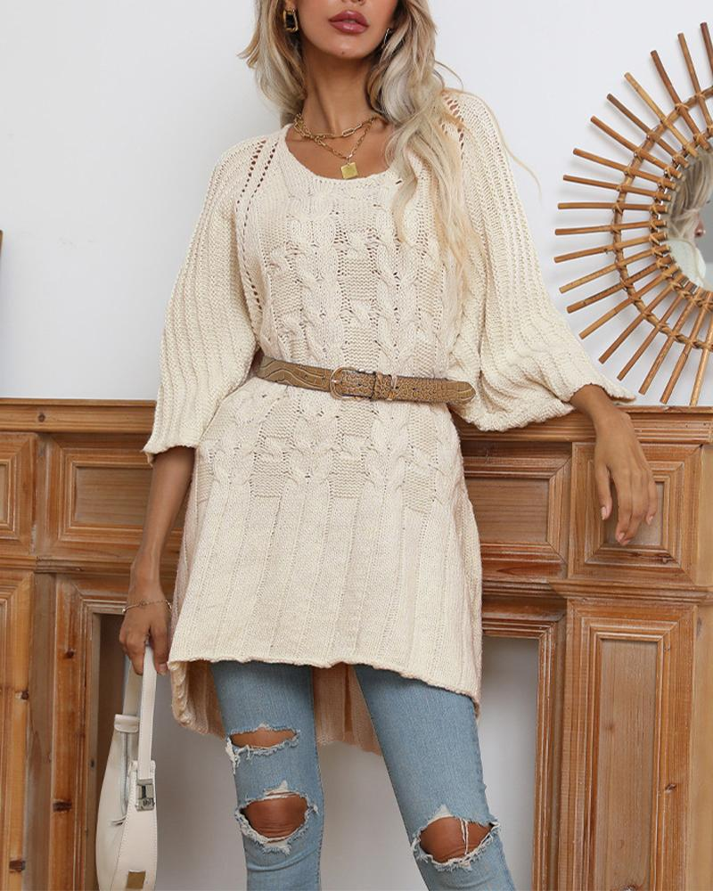 Hollow-Out Cable Knit Batwing Sleeve Oversized Sweater