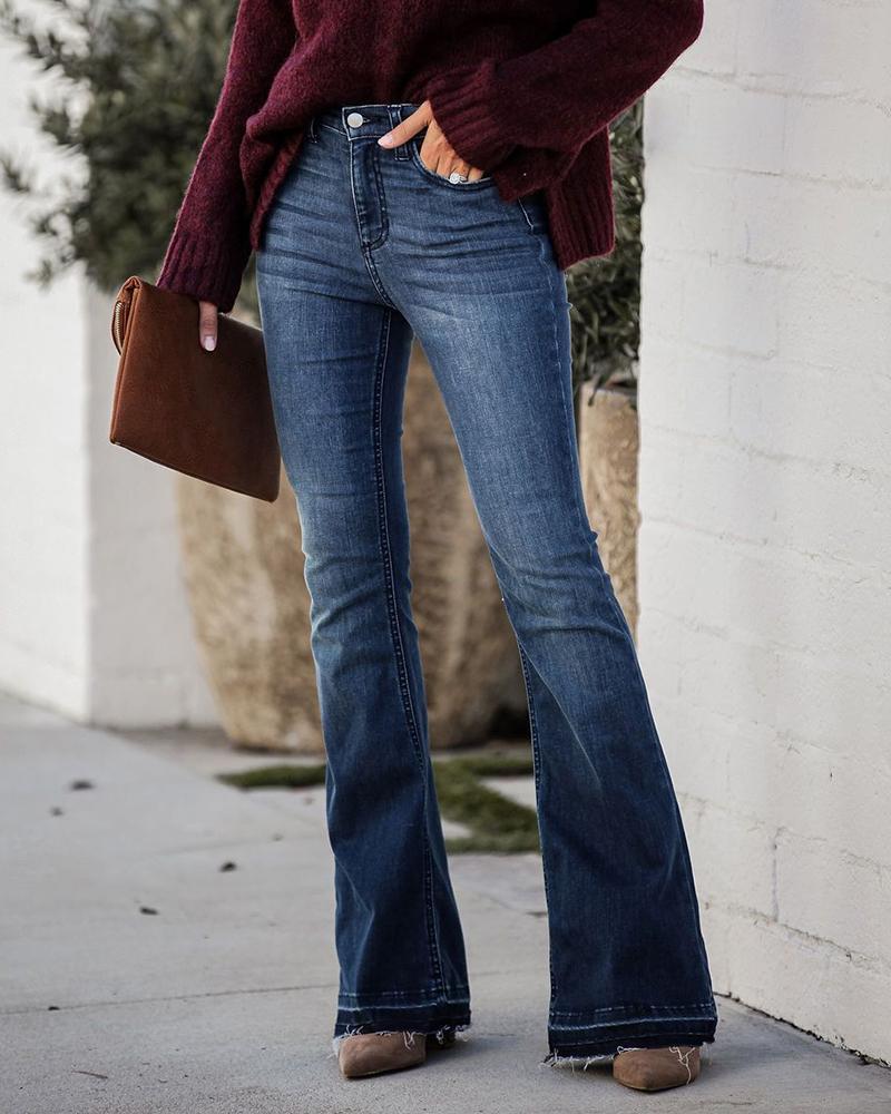 Pocket Design High Waist Bootcut Jeans