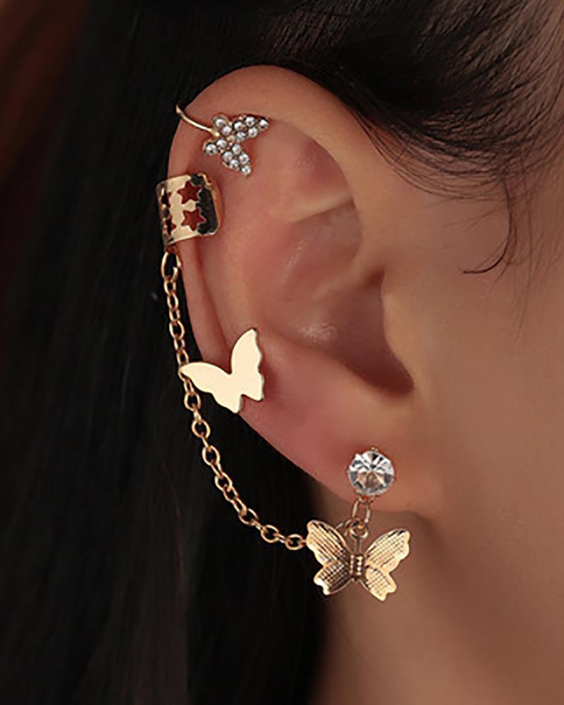 3PCS Rhinestone Butterfly Decor Studded Earrings & Ear Cuff Set