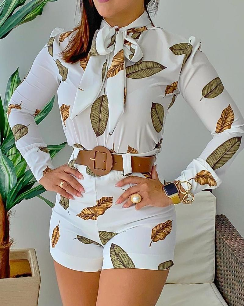 Leaf Print Puff Sleeve Top & Shorts Set thumbnail