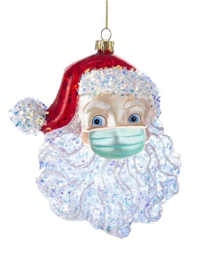 Christmas Santa Wearing a Face Mask Ornament