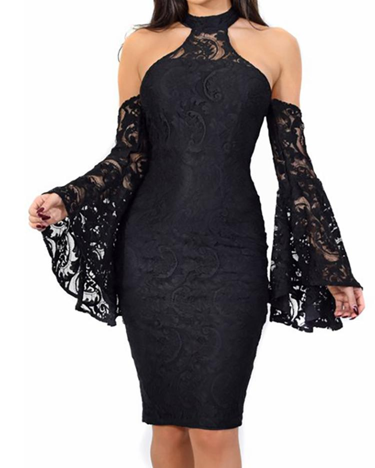 Cold Shoulder Bell Sleeve Lace Bodycon Dress