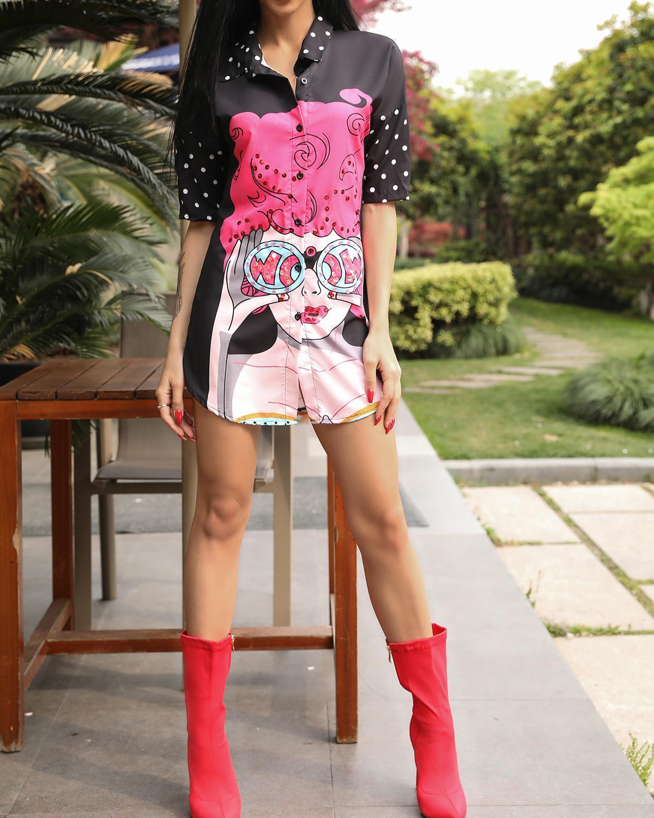 Joyshoetique coupon: Oversize Digital Print Curved Hem Shirt Dress