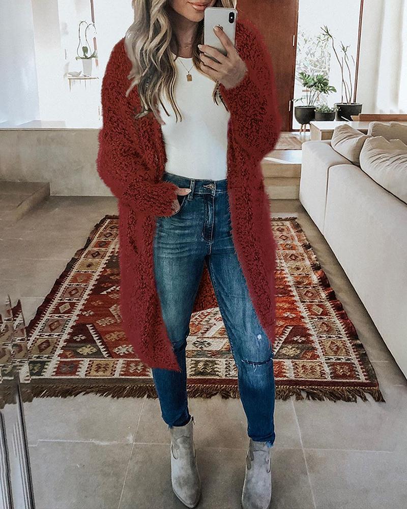 Pocket Design Long Sleeve Fluffy Knit Cardigan