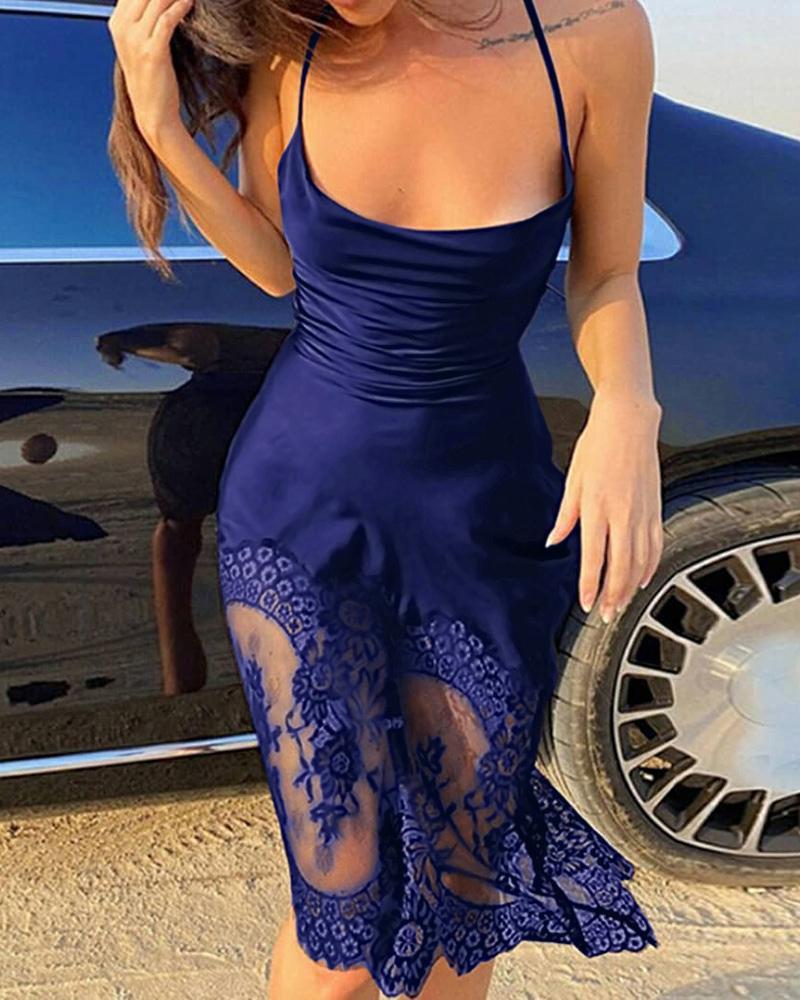 Satin Halter Backless Eyelash Crochet Lace Party Dress thumbnail