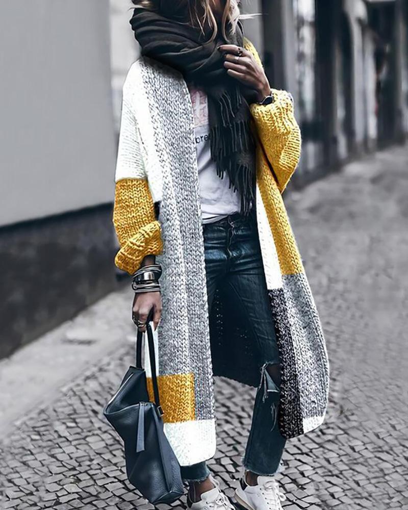 Colorblock Long Sleeve Longline Cardigan, Yellow