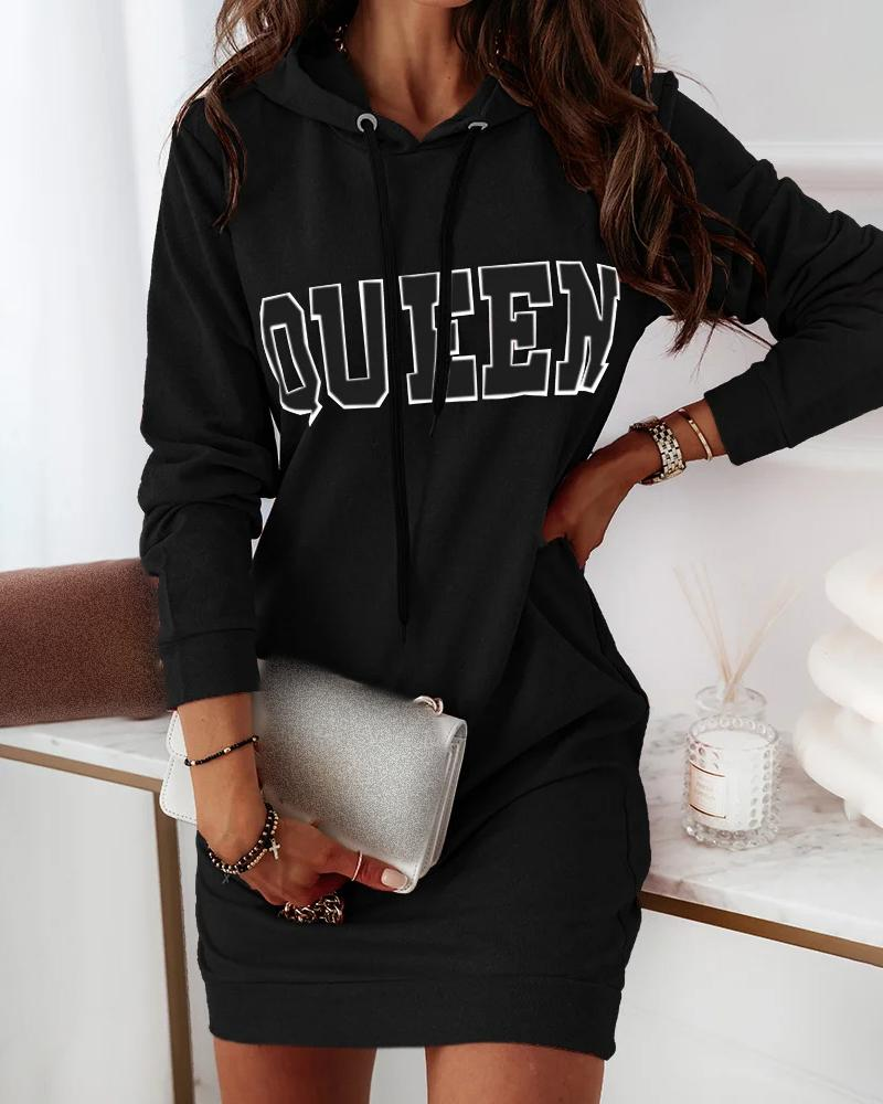 Letter Print Long Sleeve Hooded Casual Dress