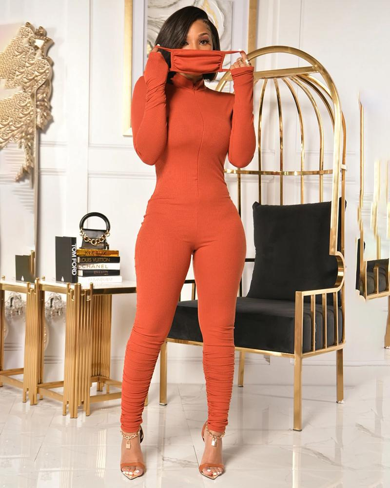 Zipper Design Ruched Long Sleeve Skinny Jumpsuit