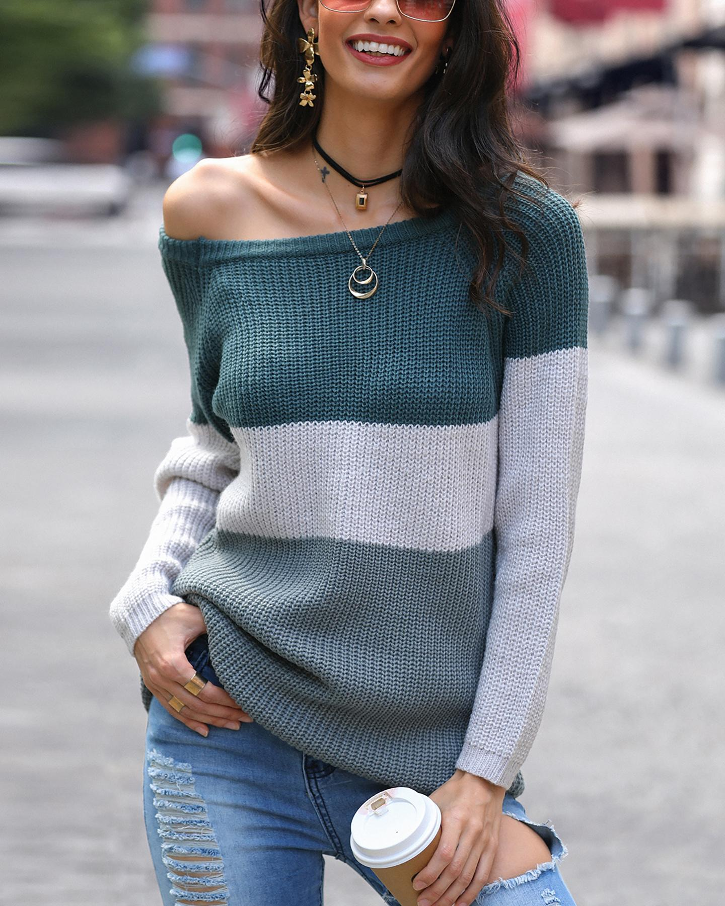 Contrast Color Shirring One Shoulder Casual Sweater