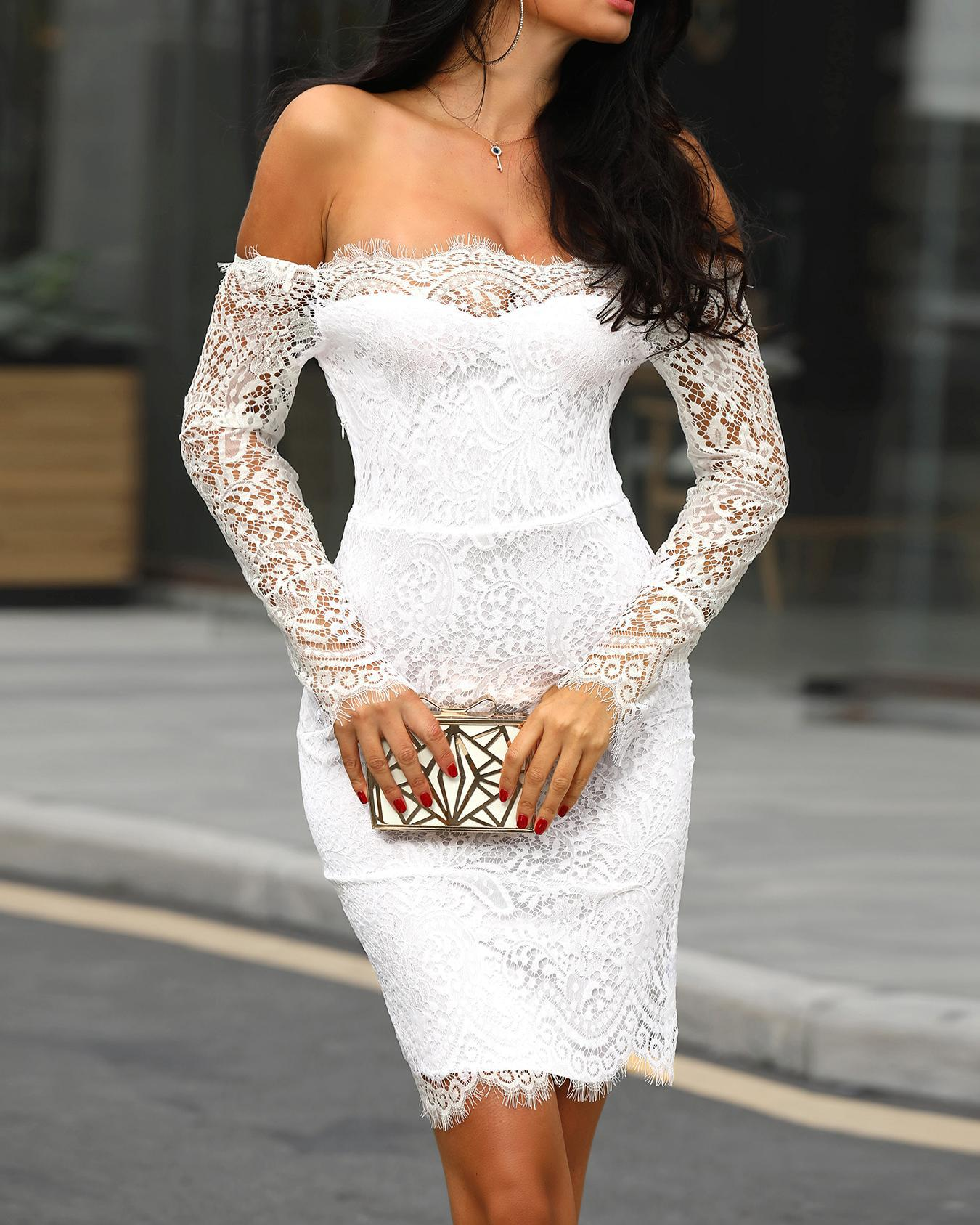 Splicing Lace Applique Off Shoulder Bodycon Dress thumbnail