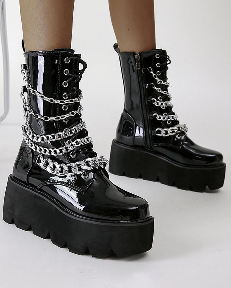 Womens Chains Decor Round Toe Shiny Finish Platform Boots