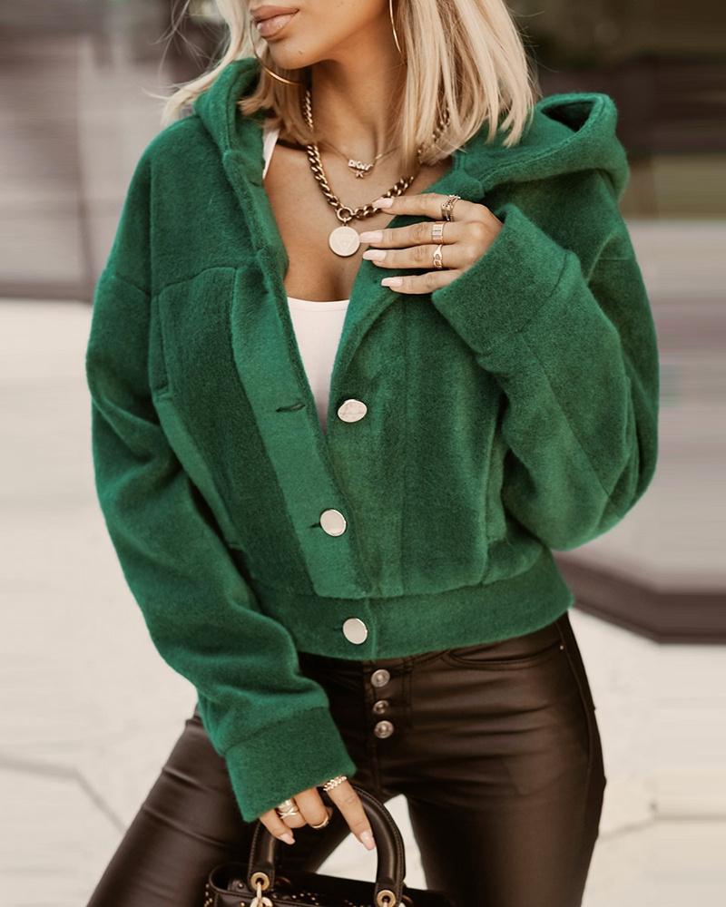 Velvet Long Sleeve Button Design Hooded Coat