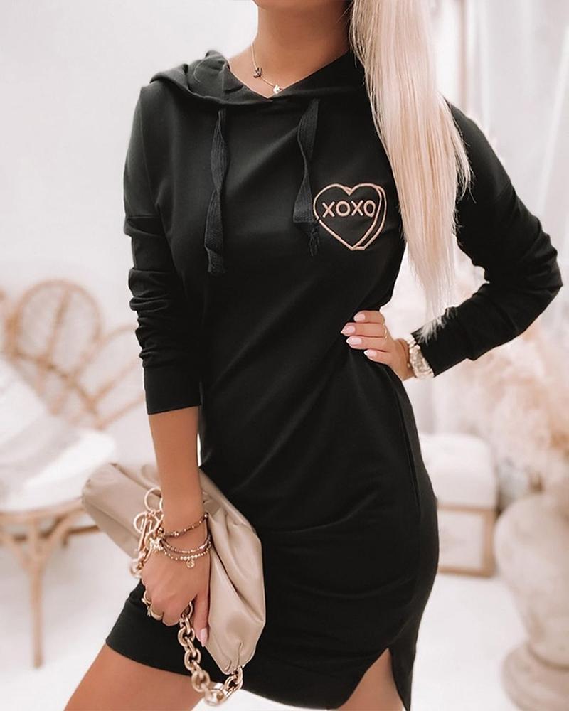 Heart Letter Print Drawstring Hooded Slit Sweatshirt Dress