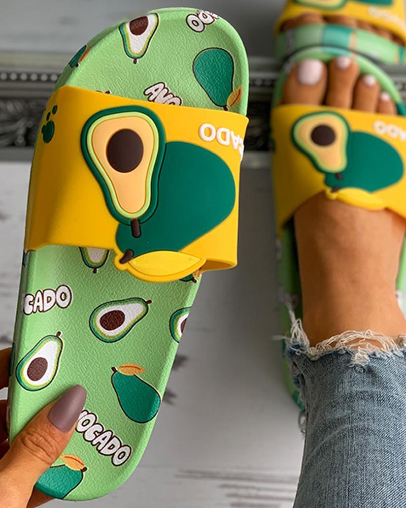 Strawberry / Avocado / Orange Pattern Open Toe Flat Sandals