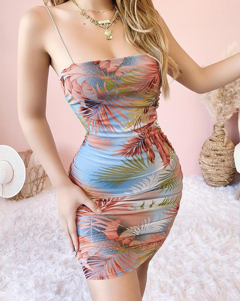 Tropical Print Ruched Bodycon Dress