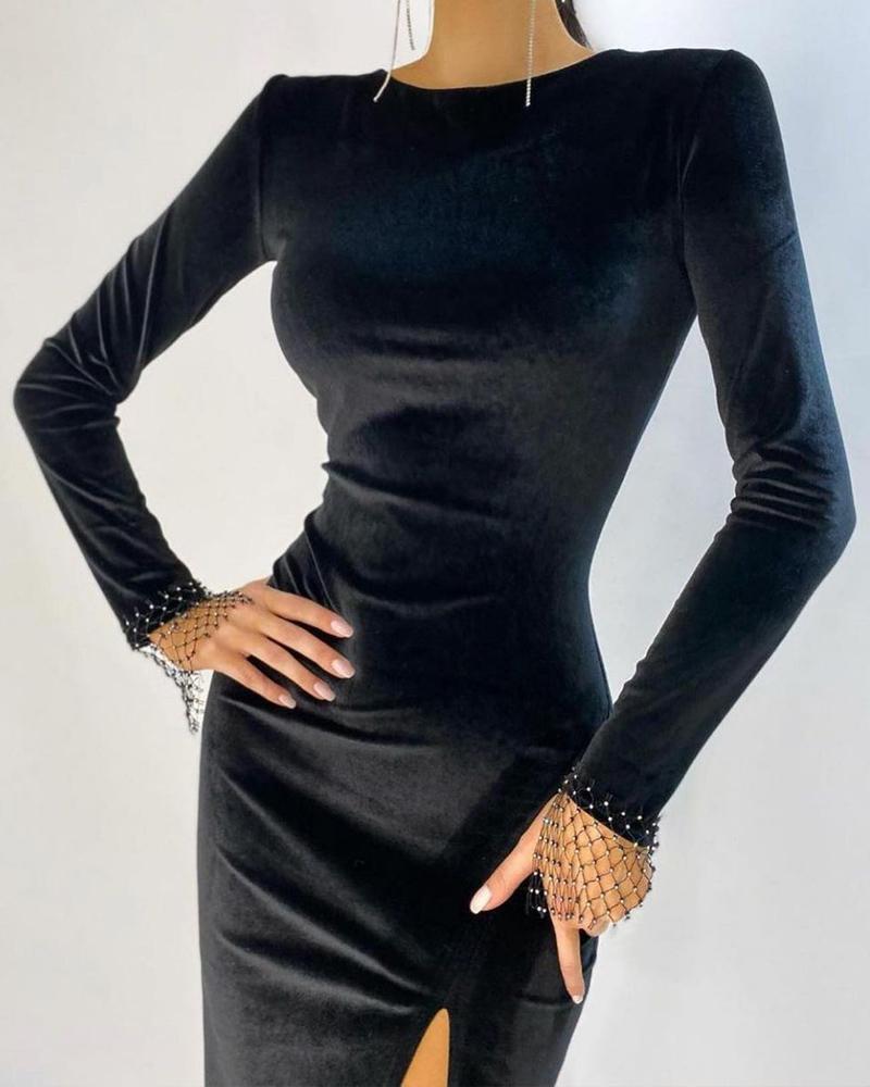 Velvet Rhinestone Decor Long Sleeve Slit Skinny Dress