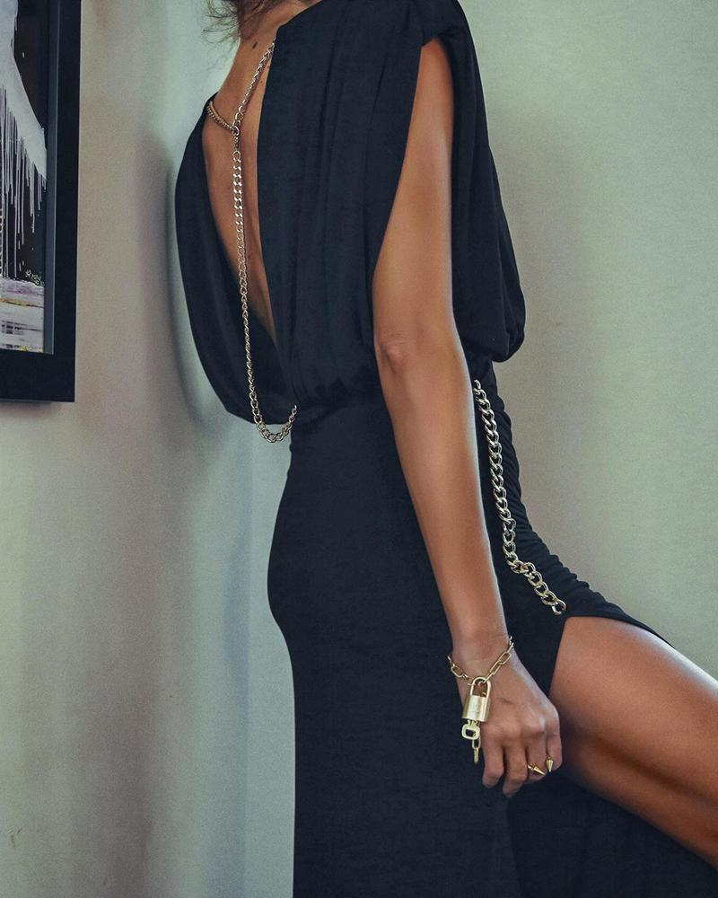Chain Decor Backless Ruched High Slit Maxi Dress