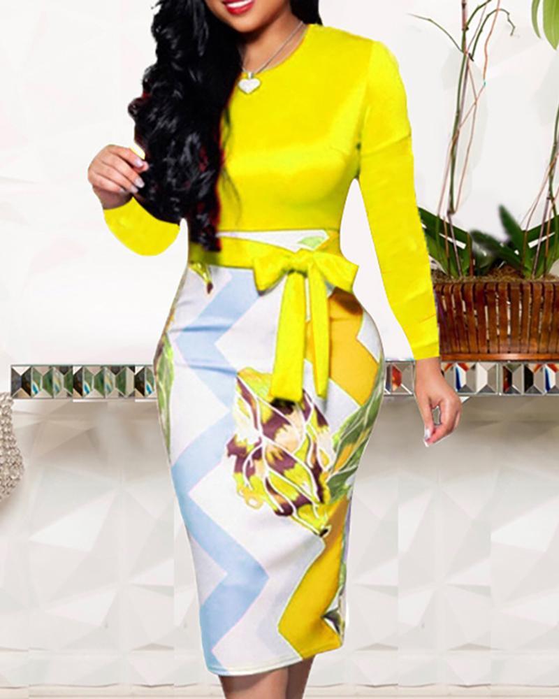 ChicMe coupon: Colorblock Flower Print Tied Midi Dress