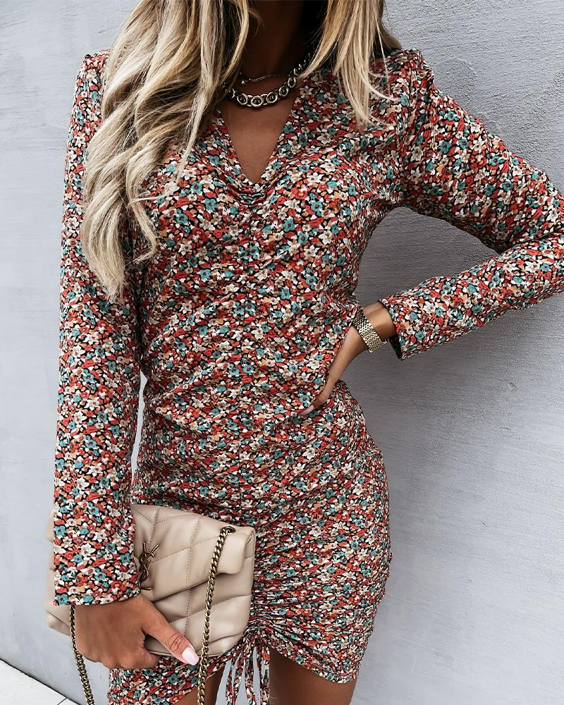 Ditsy Floral Print Long Sleeve Drawstring Ruched Bodycon Dress