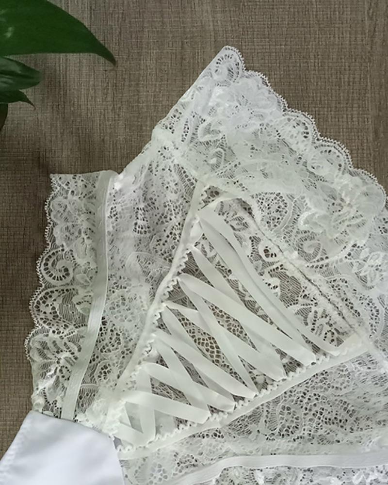 Lace-up High Waist Crochet Lace Panty