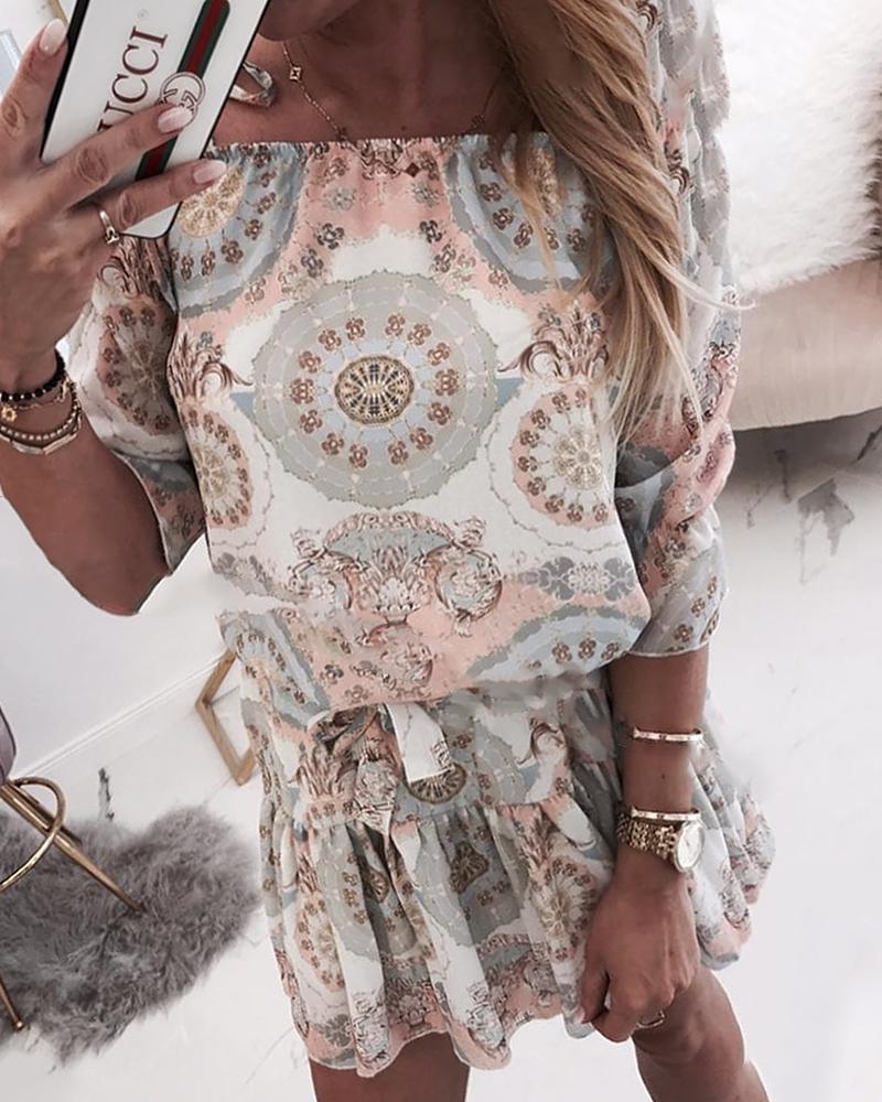 Ethnic Print Off Shoulder Casual Dress