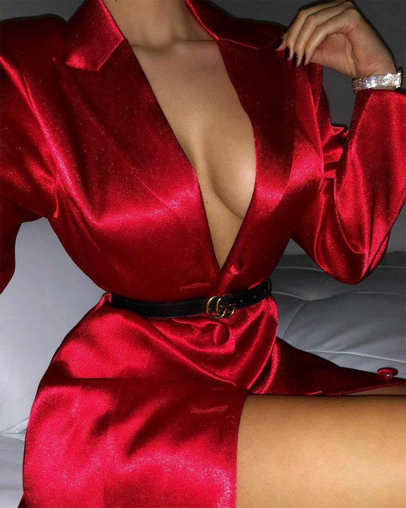 Long Sleeve Buttoned Satin Shirt Dress
