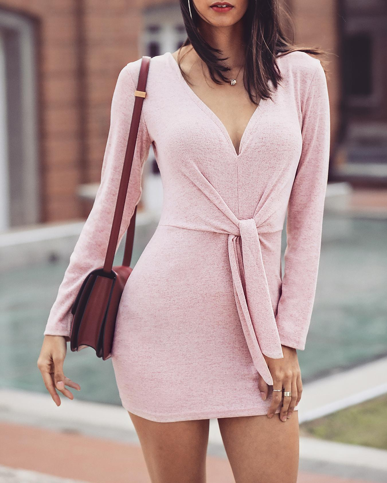 ChicMe coupon: Solid Deep V-Neck Tied Waist Dress