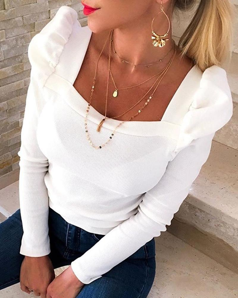 Solid Puffed Sleeve Blouse thumbnail