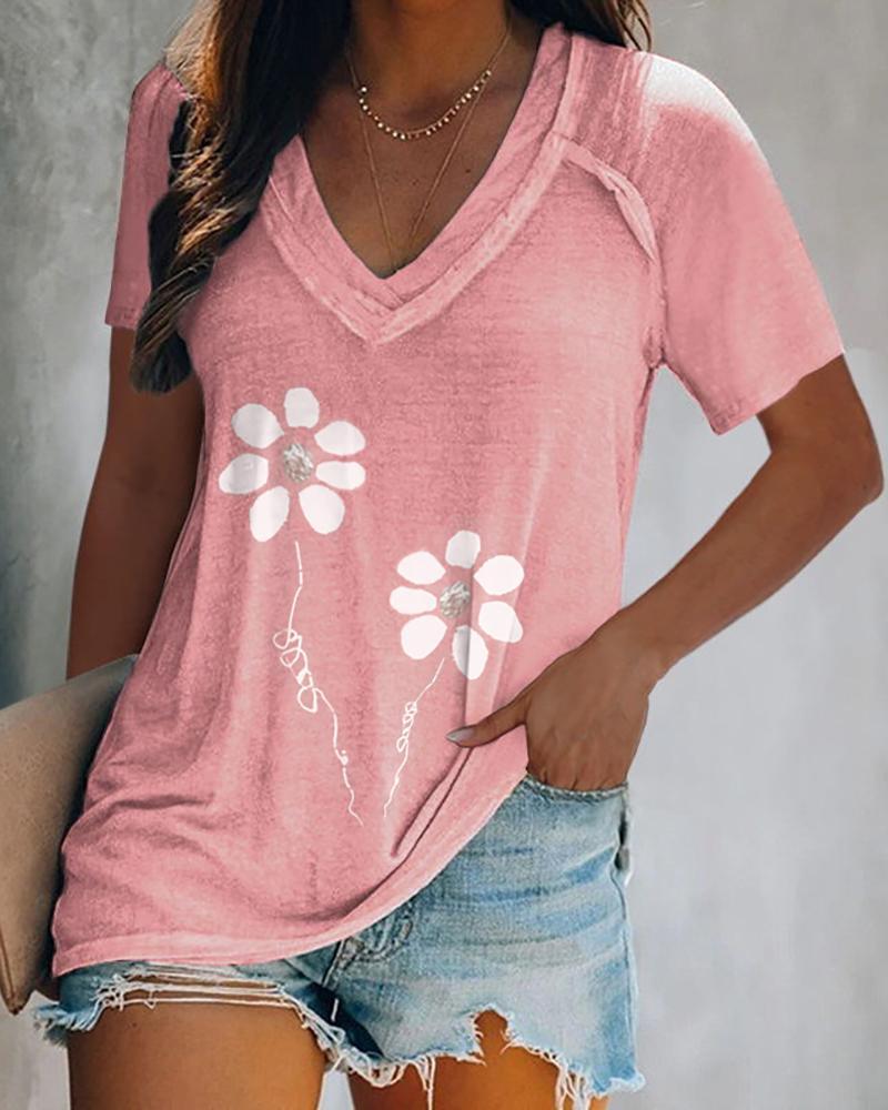 V-neck Floral Prin Short Sleeve Casual T-shirt