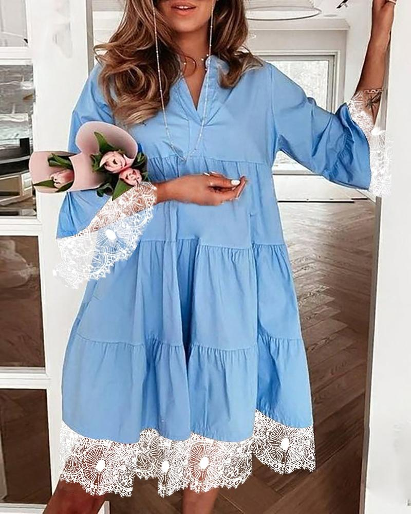 Lace Patch Half Sleeve Ruched Dress