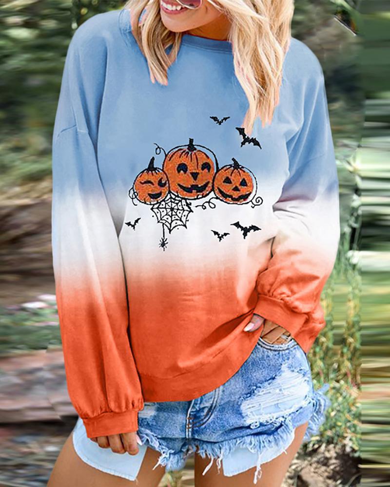 Halloween Pumpkin Bat Print Gradient Color Top