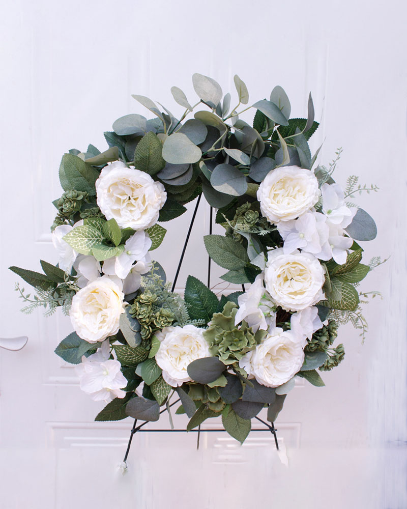 Rose Flowers Wreath Artificial Garland Wreath For Front Door Wedding Christmas Party Wall Window Decoration